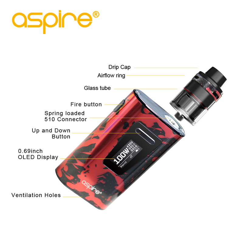 Electronic Cigarette Aspire Typhon Revvo 100W Vape Kit E Cig Device with 5000mah Built-in Battery and 2ML Revvo Atomizer Tank 5