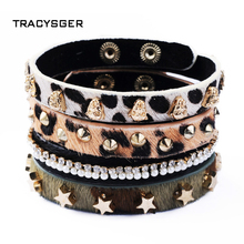 sl20636 /Personality bracelet rivet punk leopard deserve to act the role of restoring ancient ways