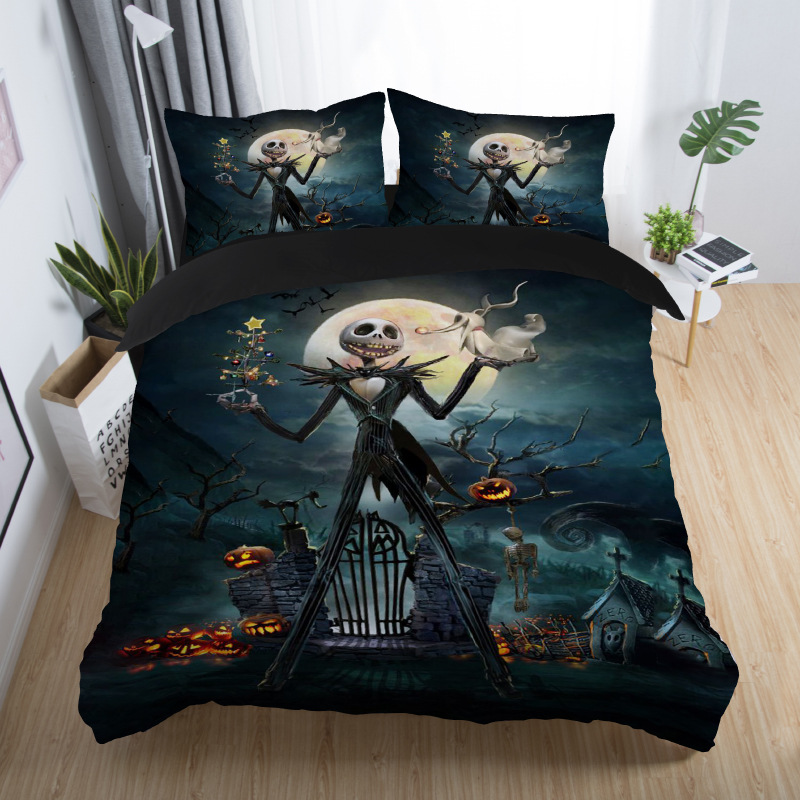 skull couples bedding set skull bed set 3D Nightmare Before Christmas Duvet Cover Jack and Sally Valentine`s Day Rose Decor 5 (10)
