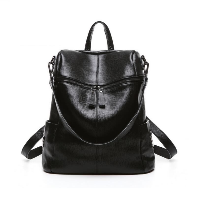 black leather backpack for girls rivet bag mochila back pack real leather high school backpack women travel bags blue bookbag<br><br>Aliexpress