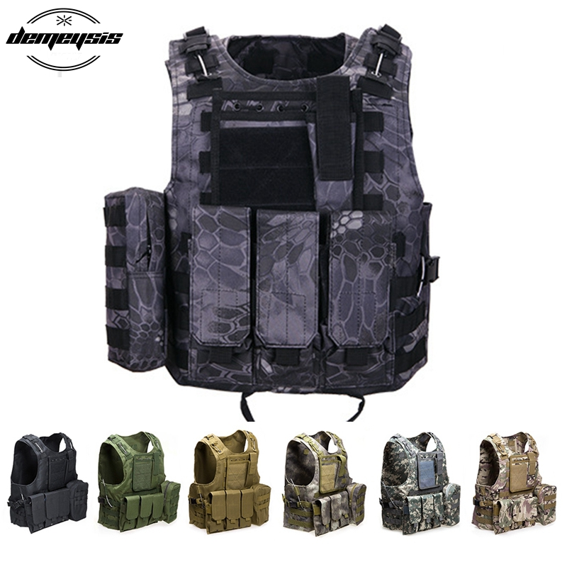 Outdoort Hunting Fishing Vest Camouflage Vest Amphibious Multi Pockets Military Tactical CS Airsoft Molle Plate Carrier<br>