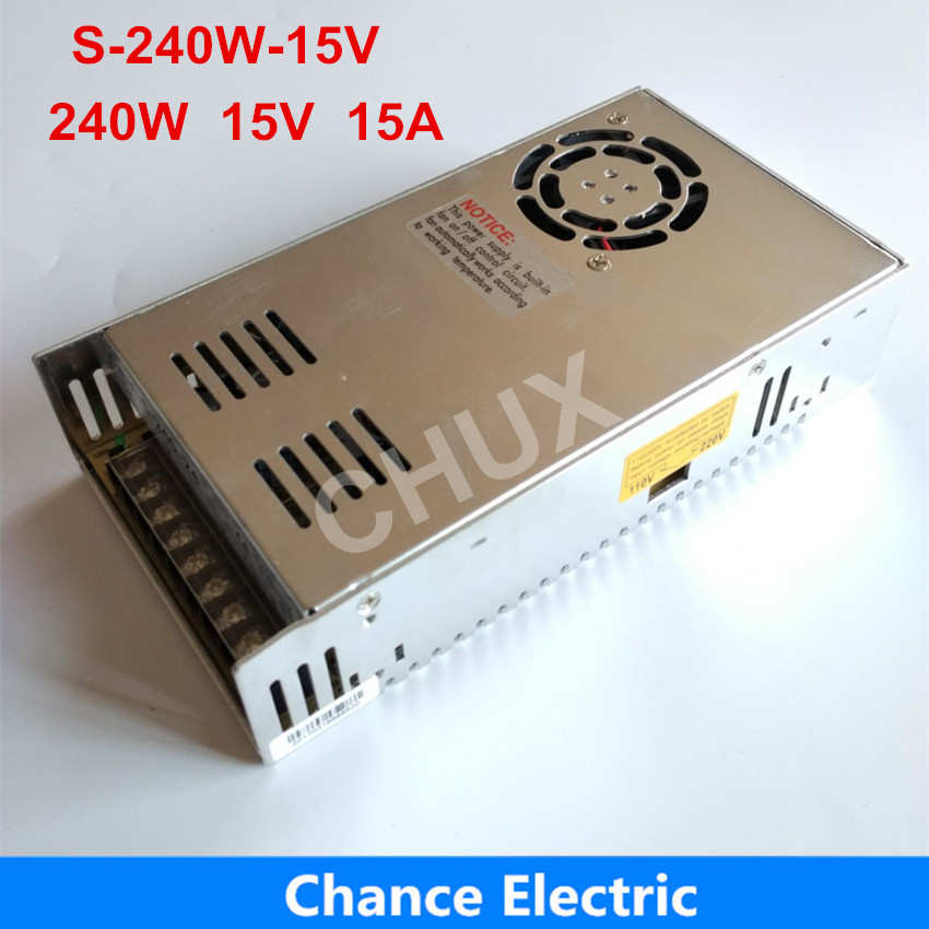 15V 240W Power Supply 110V 220V AC to 15V DC 15A  Single output Switching Power Supply free shipping <br>