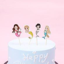 24pcs Mermaid flag kids birthday party cake decoration cake toppers masked man cake picker happy birthday party supply(China)