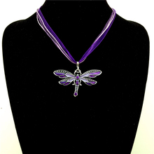 Buy Purple Bohemian Pendant Statement Necklace Ethnic Jewelry Multi-layer Chain Enamel Dragonfly Necklaces & Pendants for $4.16 in AliExpress store