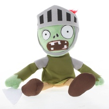 Newest 30cm PVZ Plant Vs Zombies Plush Toys Knight Zombie Plush Toy Dolls For Kids Gift(China)
