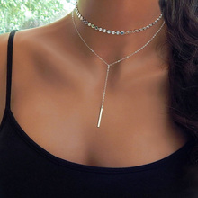 Punk Round Copper Sequins Chokers Necklaces Metal pieces bright Strip Pandent Simple double layer beach Strand Jewelry For Women