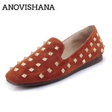 ANOVISHANA Big Size 34-43 low Heels Shoes Fashion Four Seasons Single Shoes Rivets r Pointed Toe Women Shoes D228(China)
