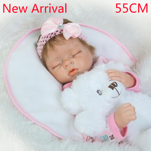 New 22inch55cm hot sale solid silicone reborn baby dolls wholesale lifelike baby soft dolls fashion doll Christmas gift new year