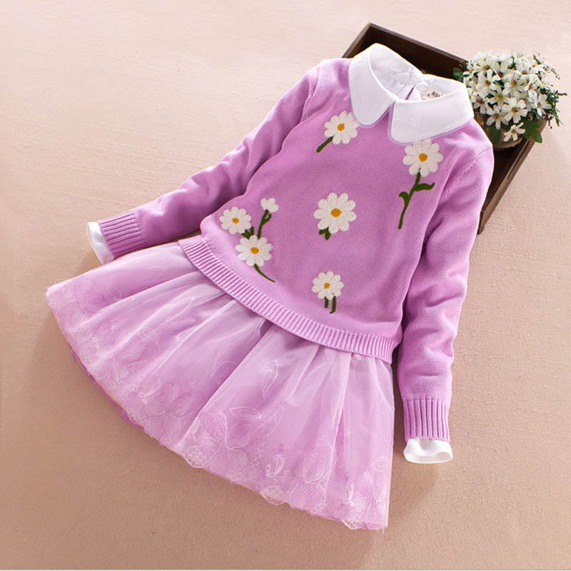 2017 Baby Girls Dress Spring Autumn Dresses For Girls Sweater &amp; Long Sleeve Dress 2pcs Children Kids Party Clothes 7 9 11 13Y<br>