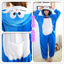 Cheap Doraemon Pajamas Costume Flannel Long Sleeve Hooded Adult Winter Onesies Warm Sleepwear For Women Size S-XL P072(China)