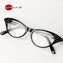 UVLAIK Cat Eye Slim Reading Glasses Women Diopter 1.5 2.0 2.5 3.0 3.5 Presbyopic Eyeglasses Spectacles With Spring Hinges
