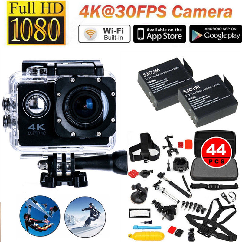 Free shipping!F60 4K 30FPS 1080P HD WIFI Sports Action Camera+2 Battery+44 in1 Accessories Kit<br><br>Aliexpress