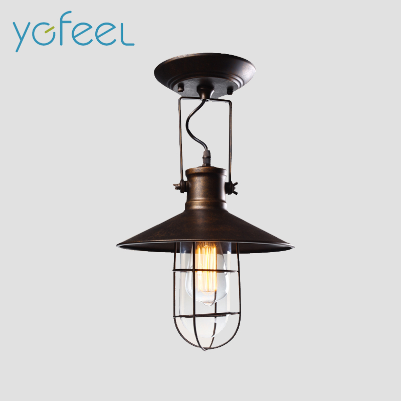 Village Retro Ceiling Lights American Country Style Corridor Balcony Loft Lamp Iron Spray Painting Process Glass Lamp Shade<br><br>Aliexpress