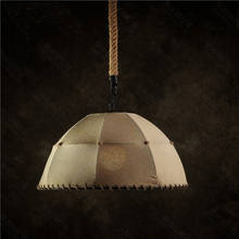 Hemp rope and linen vintage pendant lamp with smallest lamp used for living room