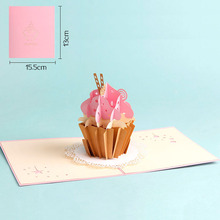 3D Laser Cut Handmade Cup Cake Paper Festival Blessing Greeting Card Kids Children Birthday Party Creative Gift