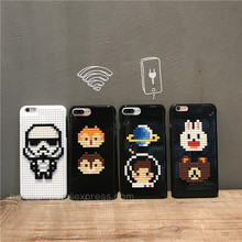 Cartoon cute little bear DIY Legos Blocks Brick plastic phone Case for Phone 6 6S 6plus  7 Plus Moon Astronaut Cover 3D
