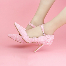 Sweet pink lace flower bridal shoes Super high with fine with the word wrist dress shoes Banquet female wedding shoes