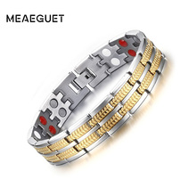 Buy Meaeguet Titanium Magnetic Health Hologram Bracelet Men Never Fade Elements High Germanium Far Infrared for $8.99 in AliExpress store