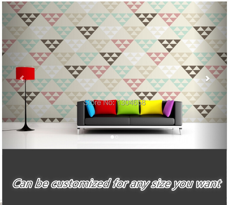 Free shipping custom large living room sofa setting wall mural wallpaper Geometric Triangles within Triangles Mural<br>