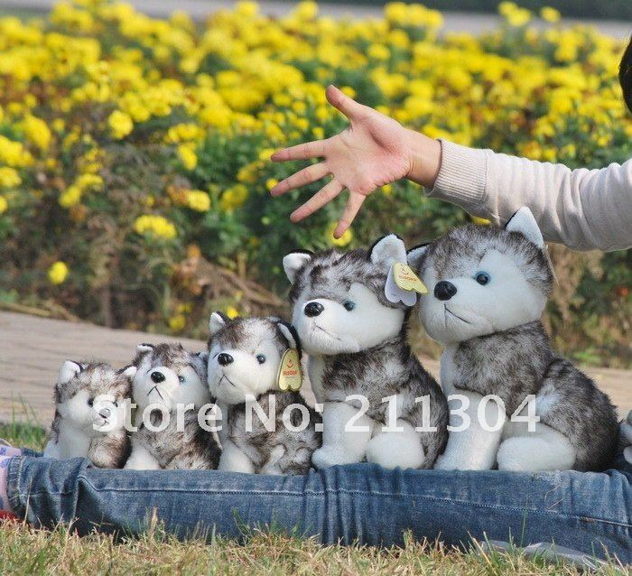 1 Piece Retail(not 1 set) Free Shipping Hotsale puppy Plush Toy 10 Sitting super cute and vivid Husky dog--Large size<br><br>Aliexpress