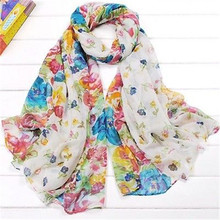 7 Colors Characteristic Soft Floral Print Voile Scarf Neck Wrap Cozy Stole Scarf New
