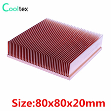 2017 new 80x80x20mm Pure Copper Heatsink Skiving Fin Heat Sink for electronic Chip LED VGA Radiator cooling cooler