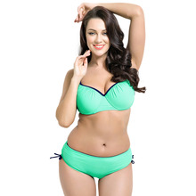 2017 New Plus Size Swimwear Women Solid Bikini Bordered Swimsuit Ruched Biquini Drawing String Bathing Suits Full Bust Beachwear
