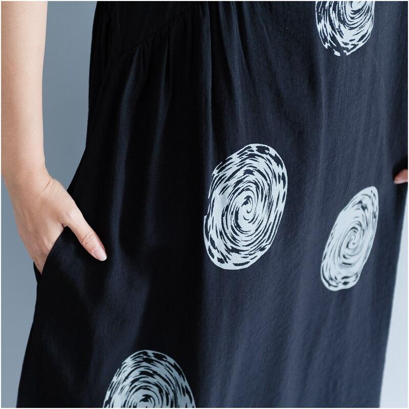 DIMANAF Women Summer Dress Big Size Cotton Linen Casual Soft Style Black Polka Dot Oversized Loose Female Sundress Clothing 2018 22