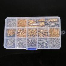 DIY Jewelry Findings Kit Bead Caps Earring Hook Lobster Clasp End Cap Jump Rings Crimp Beads Extension Chain for jewelry making(China)