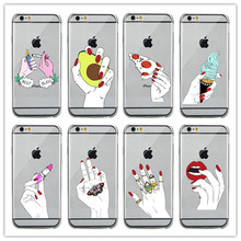 BEST BUDS Hands pink nail food flowers hand ice cream Butterfly Pizza Soft silicone Case For iPhone 6 6S Plus 5 5S SE 7 7Plus(China)