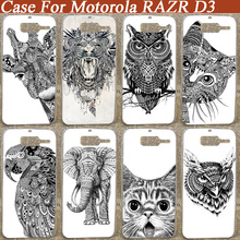 2015 free shipping new arrival cool Painting case for Motorola razr d3 white and black animals Diy skin shell phone case