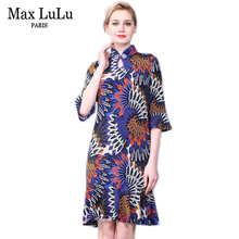 Max LuLu Autumn Chinese Style Luxury Printing Women's Party Dresses Stand Collar Ladies Fashion Chiffon Dress Plus Size Clothing