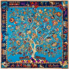 2016 Spring Fashion Tree Of Life Silk Twill Square Scarf Vintage India Totem Kerchief Woman Hand Rolled Foulard For Summer Wrap(China)