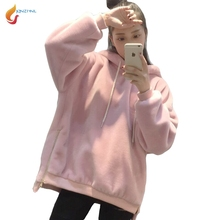 JQNZHNL 2017 Winter Fall Women Casual Hoodies Solid Color Long Sleeved Hooded Sweatshirts Lamb Wool Loose Hoodies Pullover L459
