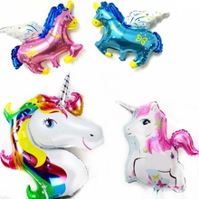 Lucky Multicolor Unicorn Pegasus Cartoon Horse Foil Balloons Pony Birthday Wedding Party Room Decoration Kids Inflatable Air Toy