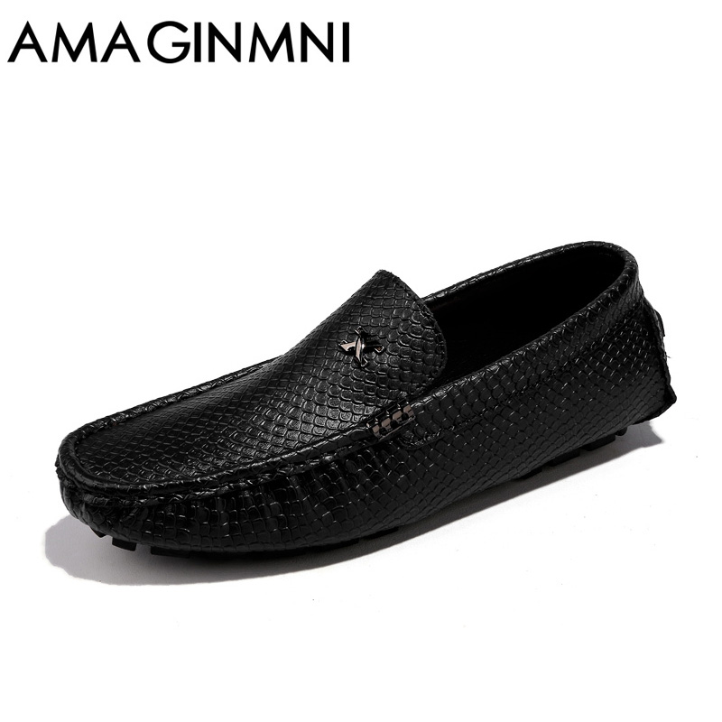 AMAGINMNI Brand Mens Casual Shoes Leather Men Loafers Luxury Fashion Male Boat Shoes superstar shoes Comfortable driving shoes<br>