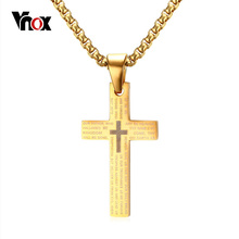 "Vnox Classic Cross Pendants & Necklaces for Men Engraved Bible Prayer Stainless Steel Jewelry Free 24"" Chain(China)"