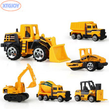 6 types Diecast Mini Alloy Construction Vehicle Engineering Car Dump-car Dump Truck Model Classic Toy Mini Gift for Boy Toys