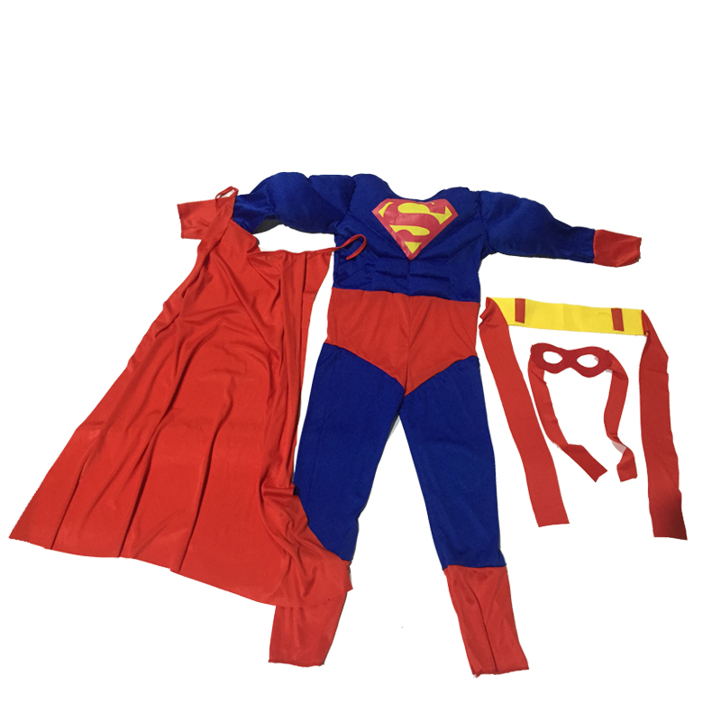 Kids Cospaly Deluxe Muscle Superman Costume Halloween Party Muscle Christmas Superman For Boys Girls Full Body Superman Suit (8)