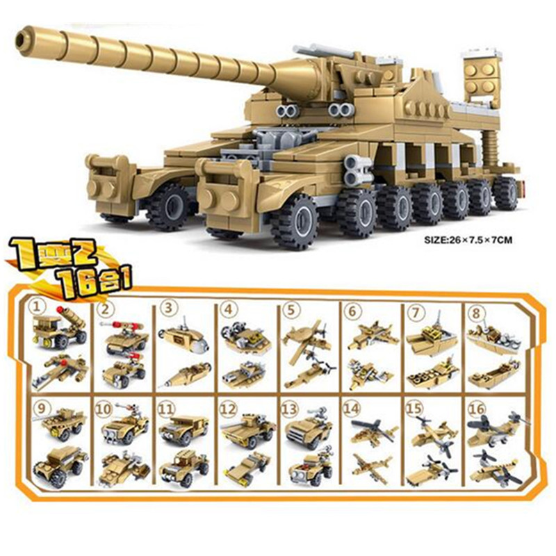 544pcs-Brand-Compatible-Army-Series-16-in-1-Super-Fire-Tank-Assembly-Transformation-Toy-Small-Particles (1)