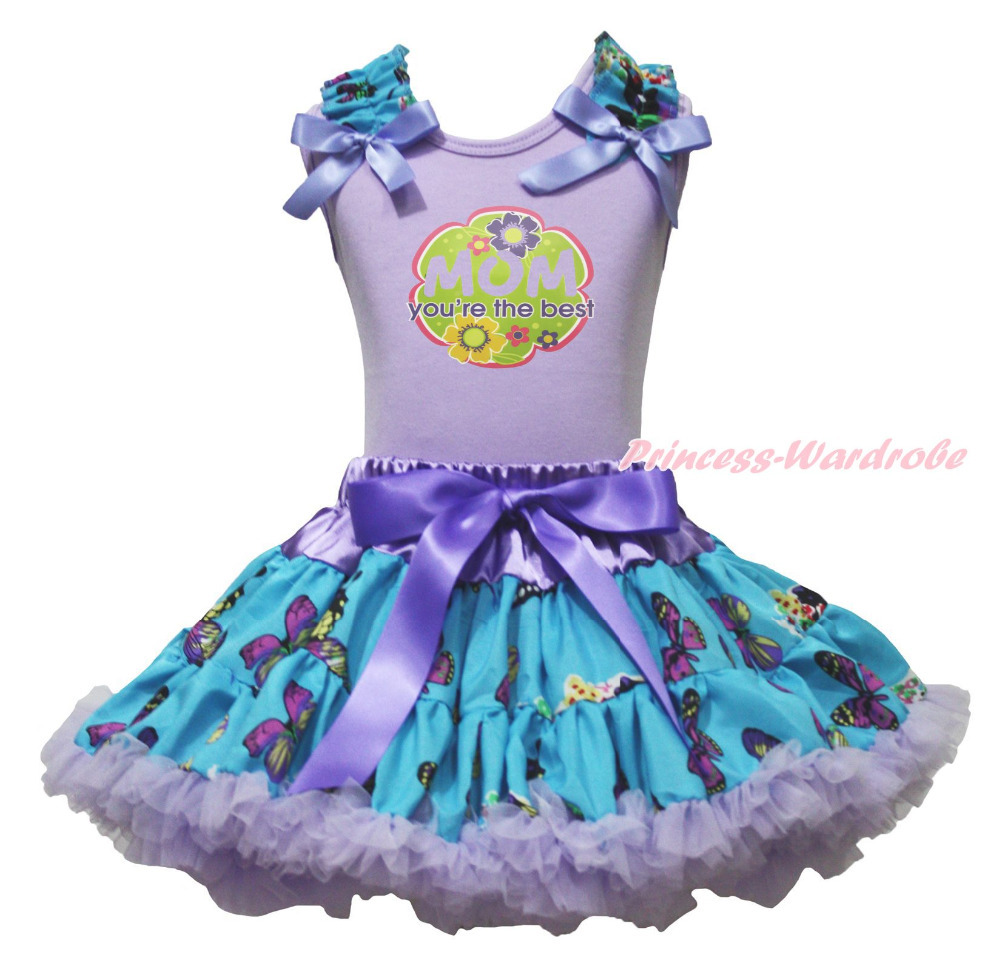 Mother Day MOM Youre The Best Lavender Top Butterfly Skirt Girls Cloth Set 1-8Y MAPSA0796<br>