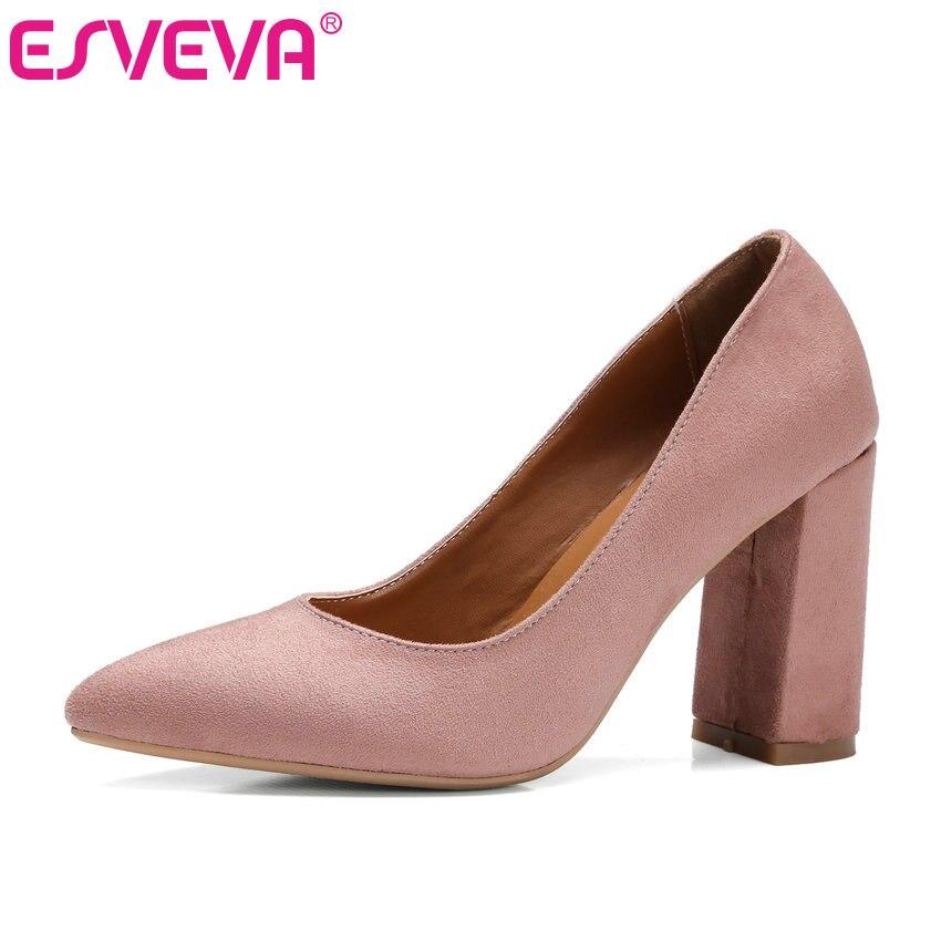 ESVEVA 2017 Flock Pointed Toe Summer Shoes Square High Heel Women Pumps Black Fashion OL Work / Wedding Shoes Big Size 34-43<br>