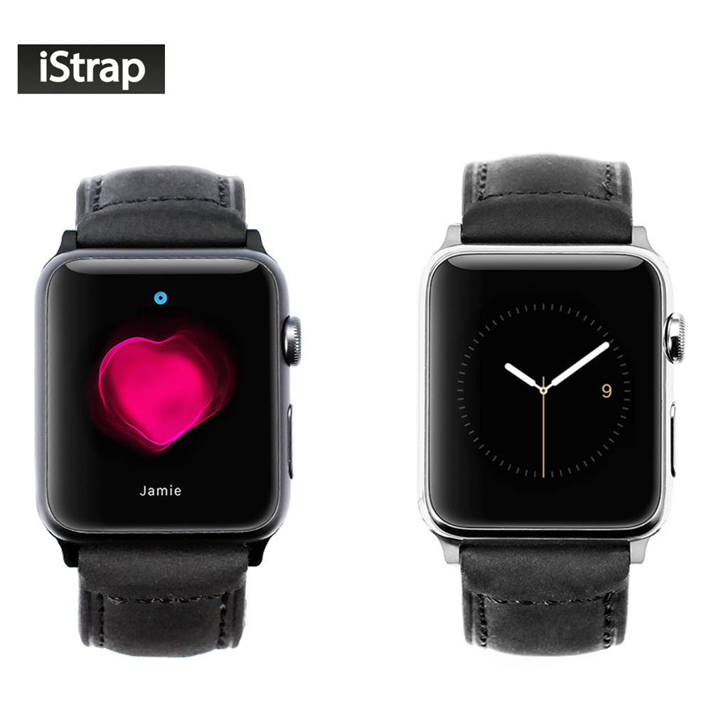 iStrap Black 42mm Assolutamente Leather Watch Band For Apple Watch 42mm With Tang buckle Spring Bar Adapter For iWatch 42mm Case<br>