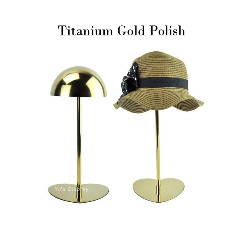 Free shipping Gold Metal Hat display stand polish hat display rack hat holder cap display HH002-Titanium gold polish<br>