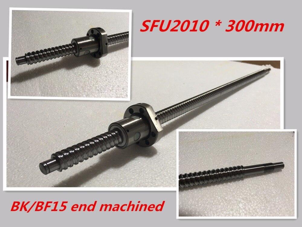 SFU2010 300mm Ball Screw Set : 1 pc ball screw RM2010 300mm+1pc SFU2010 ball nut cnc part standard end machined for BK/BF15<br>