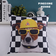 3D Dog With Glass Pillow cover Comfortable White And Black Plaid  Pillow Covers Decorative Pillow Covers