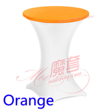 Orange colour spandex cocktai table top cover lycra table top cover for wedding banquet and party cocktail table decoration