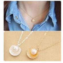 n435 2016 fashion minimalist temperament pendant Imitation pearl shell-shaped necklace women clavicle short chain