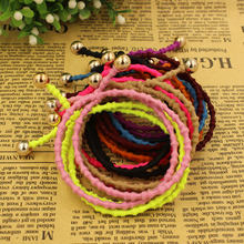 10Pcs/lot Ponytail Elastic Holders Beauty 2016 New Double Layers Golden Beads Hair Accessories Girl Women Rubberbands Tie Gum