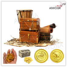2017 Plastic pirate gold coins Treasure Toys Coins Captain Pirate Halloween Christmas Decoration Game Currency 100&50Pcs 7ZHH204